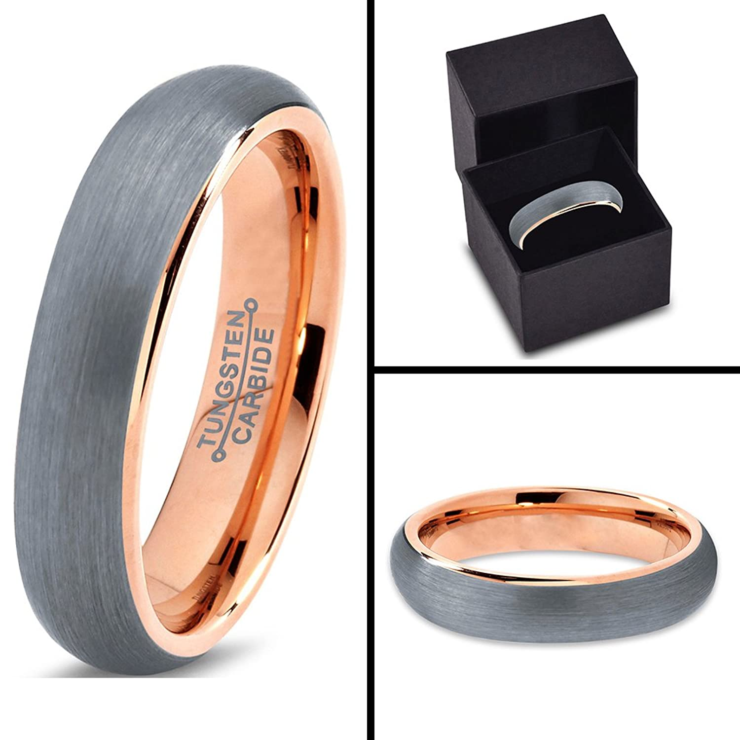 charming jewelers 18k rose gold plated domed brushed tungsten wedding band ring 5mmamazoncom - Tungsten Wedding Ring