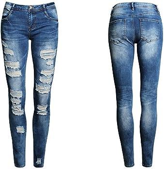 LHWY Pantalones De Cintura Alta Vaqueros Skinny LáPiz, Rotos ...