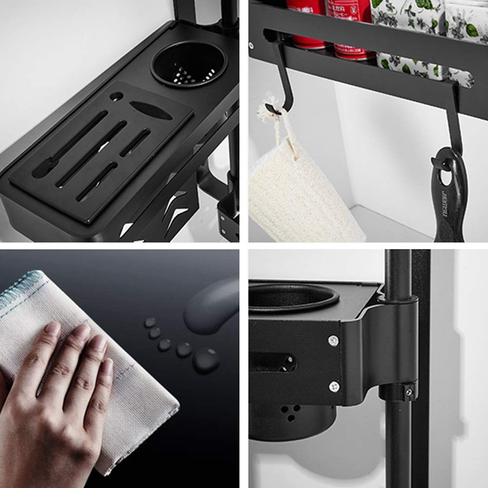 WENZHE Kitchen Storage Rack Spice Cooker Shelf Wall Mounted Corner Frame Tool Chopstick Holder Rotatable Adjustable Black Space Aluminum, Punch Free, 3 Sizes (Color : Black, Size : 420x130x370mm) by WENZHE-zhiwujia (Image #3)