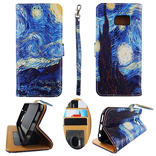 Night Phone Protector (Wallet Case for Samsung Galaxy S7 Case Starry Night Art Premium Synthetic Leather ID Pouch Credit Card Cash Holder Folding Light Cover Kickstand Sheild Protector Slim Flip Case)