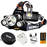 Ultra Bright CREE LED Headlight, 6000 Lumen, 4 Modes LED Head Torch, Rechargeable 18650 Headlamp Flashlights, Waterproof Hard Hat Light with Travel Bag for Running Camping Hunting Fishing
