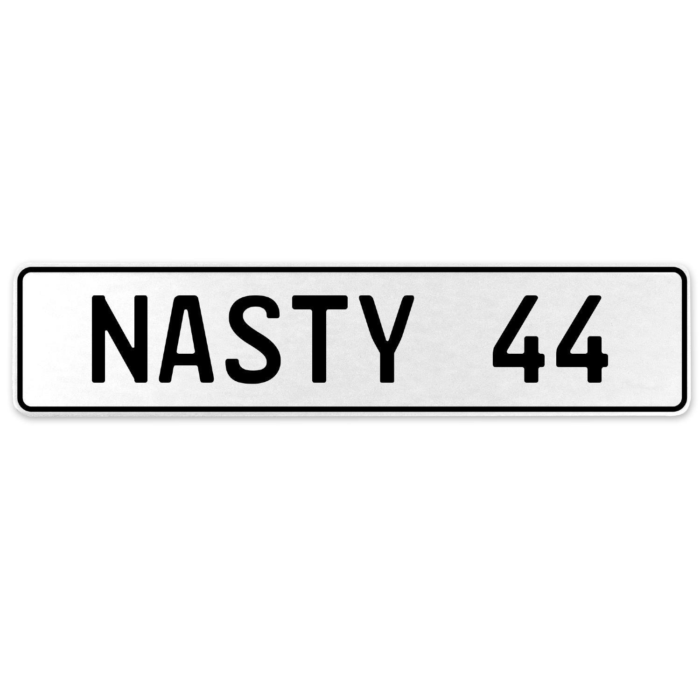 Vintage Parts 556918 Nasty 44 White Stamped Aluminum European License Plate