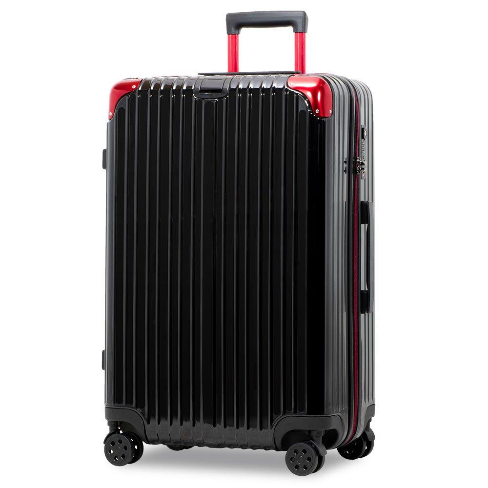 スーツケース アルミフレーム 機内持込~大型 軽量 超消音 ダブルキャスター 8輪 TSA キャリーケース キャリーバッグ B079BFG4JQ LL(一週間前後)-86L-ファスナー|ブラック/レッド/ ブラック/レッド/ LL(一週間前後)-86L-ファスナー
