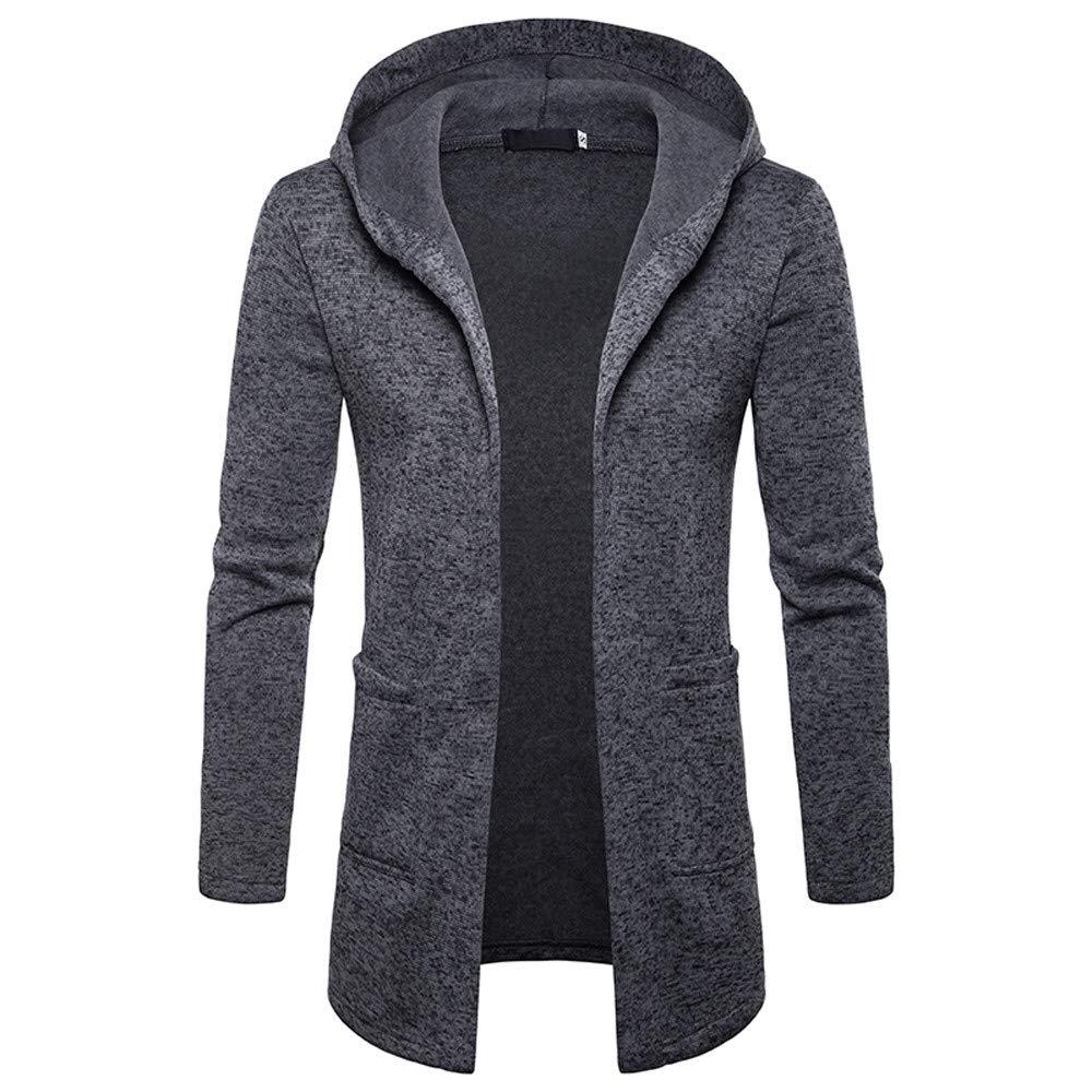 JiaMeng Männer Splicing Hooded Volltonfarbe Trenchcoats Mantel Jacken Strickjacke Langarm Outwear Mantel