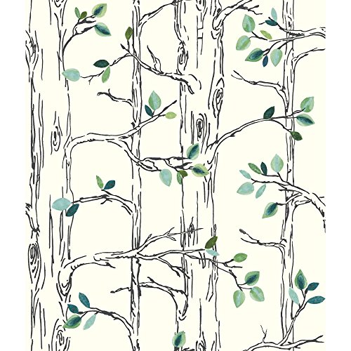 York Wallcoverings SB7671 Brothers and Sisters V Knock On Wood Wallpaper, White, Navy Blue, Teal, Green, Aqua