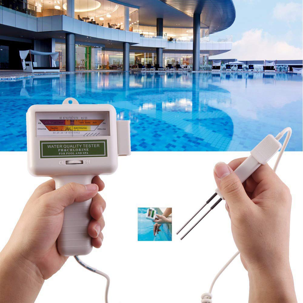 Vovomay PH CL2 Chlorine Level Meter Water Quality Tester, Test Monitor Swimming Pool Spa