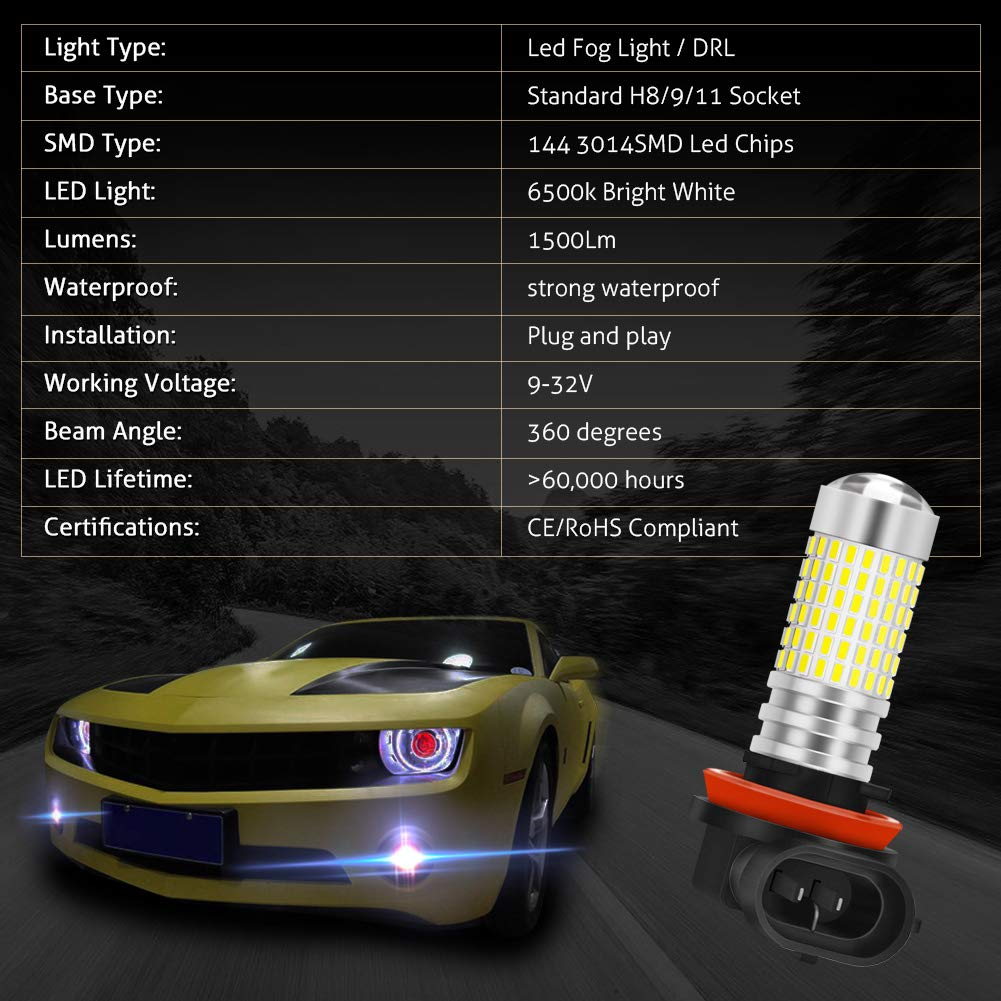 Pack of 2 KaTur 1156 P21W 7506 BA15S LED Bulb High Power 3014 Chips Extremely Bright 3000 Lumens 6500K Xenon White Replace for Back up Reverse Brake Tail Turn Signal Lights,