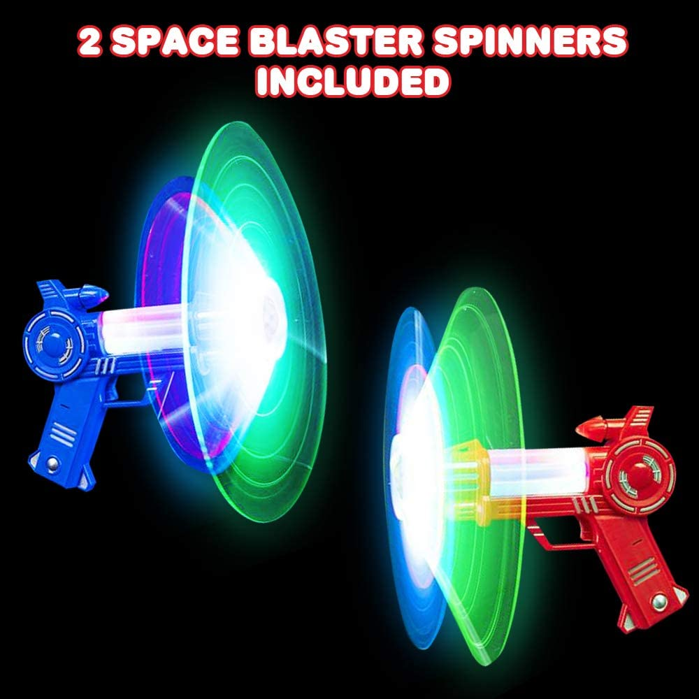 Toy Guns for Kids with Spinning Action Great Birthday and Holiday Gift ArtCreativity Space Blaster Spinners and Sound LEDs Set of 2 Fun Light Up Toys for Boys and Girls Batteries Included