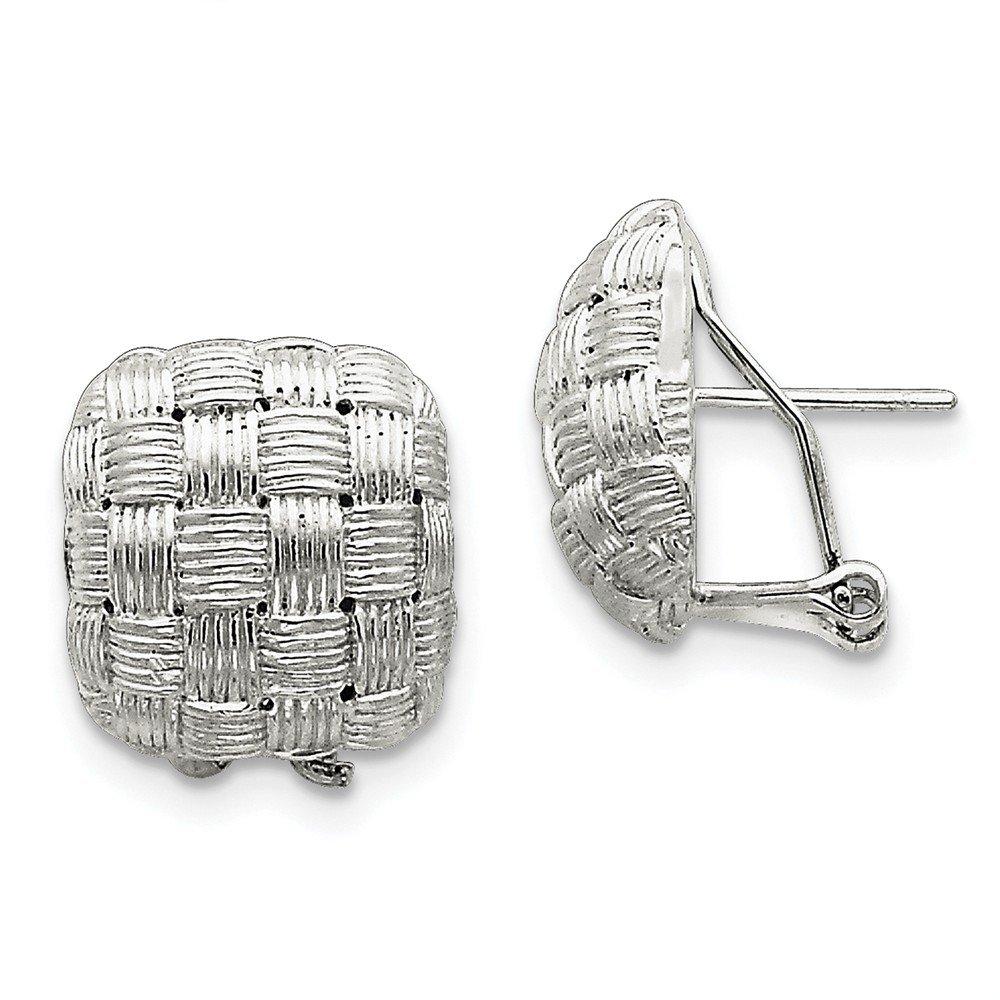 Sterling Silver Square Fancy Omega Back Earrings