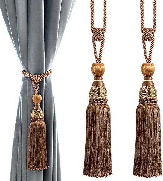 2 Pieces Curtain Tiebacks Tassel Twisted Rope Living Room Bedroom Brown