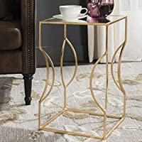 Safavieh Home Collection Vera Antique Gold Leaf End Table, Earth