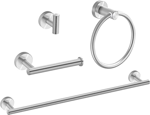 Bathroom Lavatory 304 Stainless Steel Round Towel Ring Wall Mount,Brushed Nickel