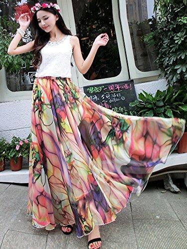 Medeshe - Falda - trapecio - para mujer Tropical Color