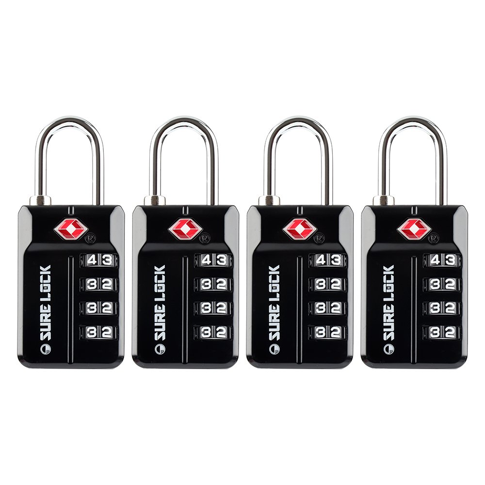 SURE LOCK TSA 4 Digit Combination Travel Luggage Locks, Inspection Indicator, Easy Read Dials- 1, 2 & 4 Pack by SURE LOCK