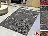 Handcraft Rugs - Gray/Silver/Black/Abstract Area Rug Modern Contemporary Flower-patterned Design