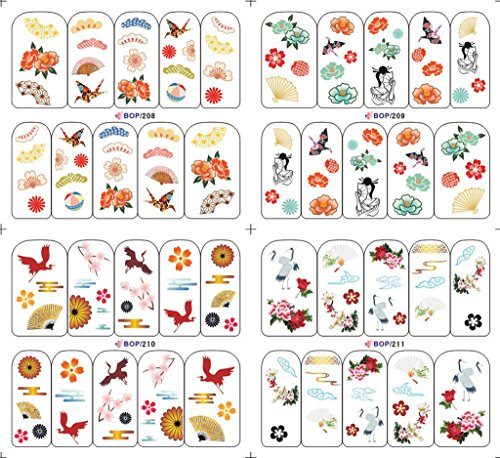 KADS Manicure stickers water paste Manicure BOP series dedicated flowers origami Cherry Red Crowned Crane-1 Pack 4 design