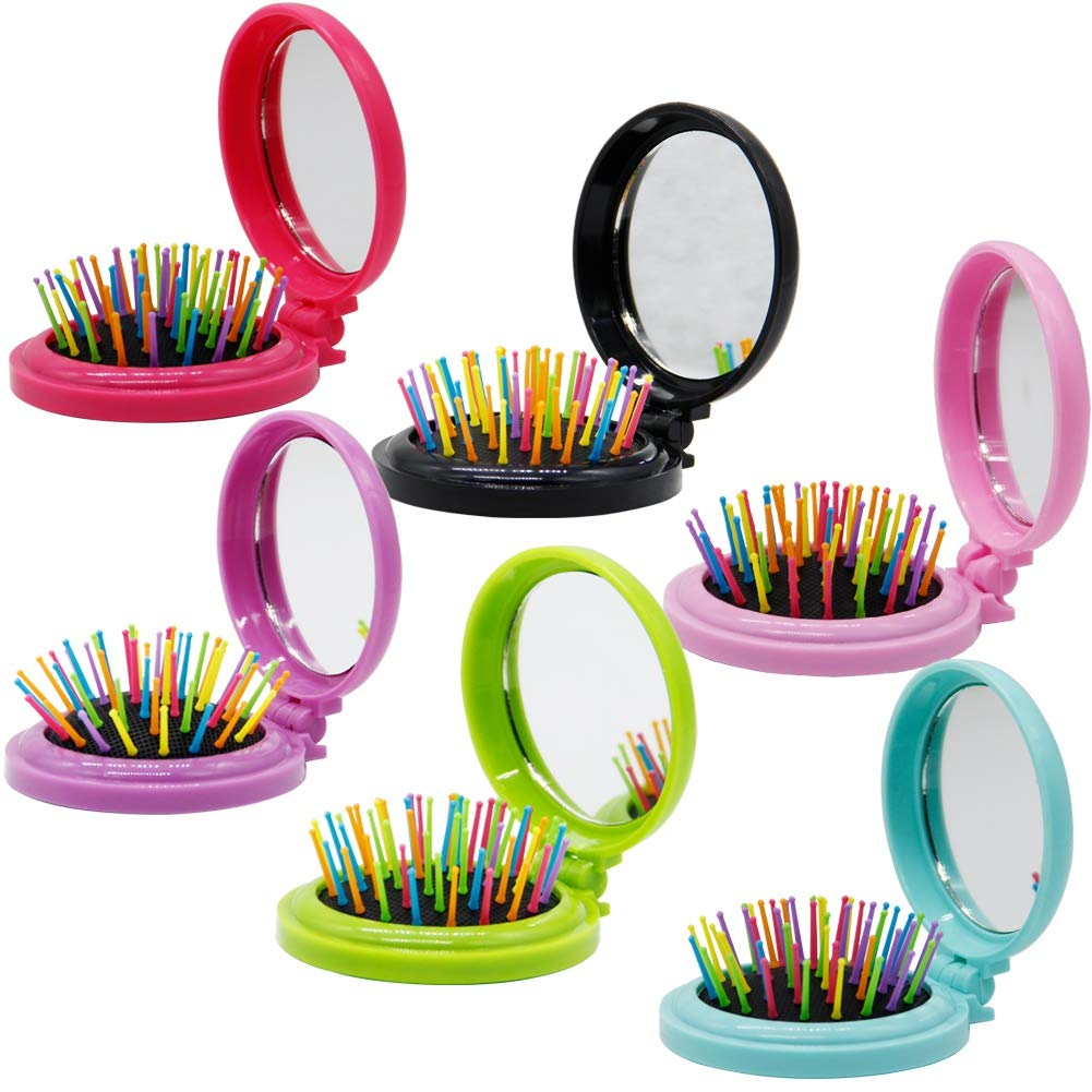Happy Trees 6 PCS Round Travel Hair Brush with Mirror Folding Pocket Hair Brush Mini Hair Comb with Makeup Mirror for Travel (Set of 6)