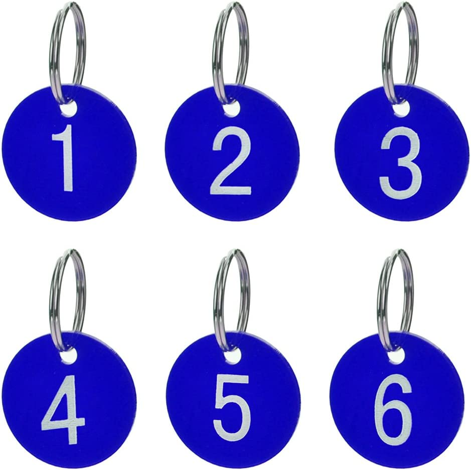 Aspire 50 PACK Numbered Tags with Key Ring Acrylic Tags for Organizing /& Sorting Black 1 to 50