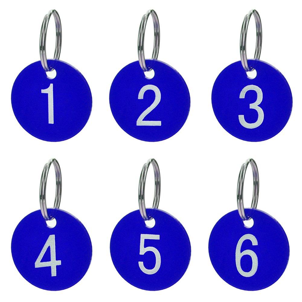 Aspire Tag numerati con portachiavi Tag acrilici per lorganizzazione e lordinamento 50 pacchi Rosso 1 to 50