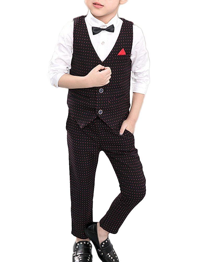 Quge Ragazzi Del Vestito Cerimonia Gilet + Camicia + Pantaloni 3 Pezzi Completino Elegante