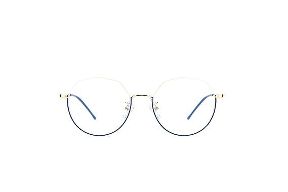 0f90b5b606 TIJN Metal Retro Eyeglasses Frame Eyewear Optical Polygonal Eyeglasses  Frame with Clear Lenses (Blue)  Amazon.co.uk  Clothing