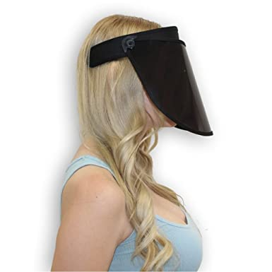 Amazon.com  Solar Face Shield Sun Visor Hat Black Full Face Sun ... 8d6a76564c51
