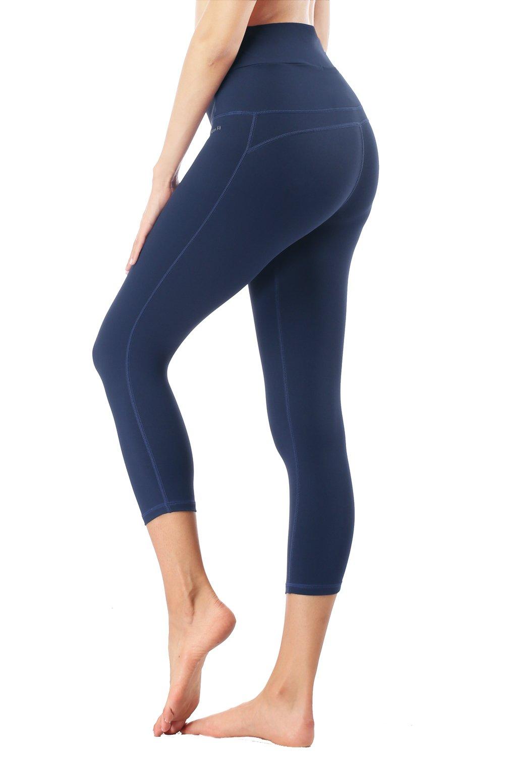 Dragon Fit Compression Yoga Capri Pants Tummy Control 4 Way Stretch Workout Running Yoga Capri Leggings Non See-Through (Small, Capri-Blue)