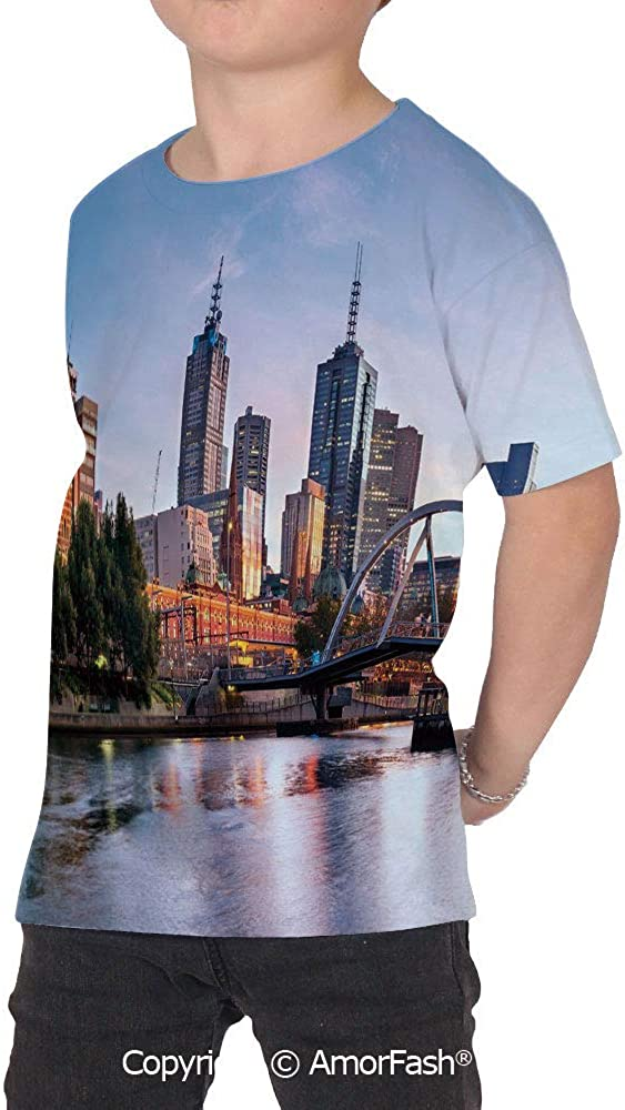City Over Print T-Shirt,Boy T Shirt,Size XS-2XL Big,Early Morning Scenery in Mel