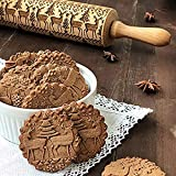 Christmas Wooden Rolling Pins SUJING Engraved Embossing Rolling Pin with Christmas Symbols for Baking Embossed Cookies (43x5cm)