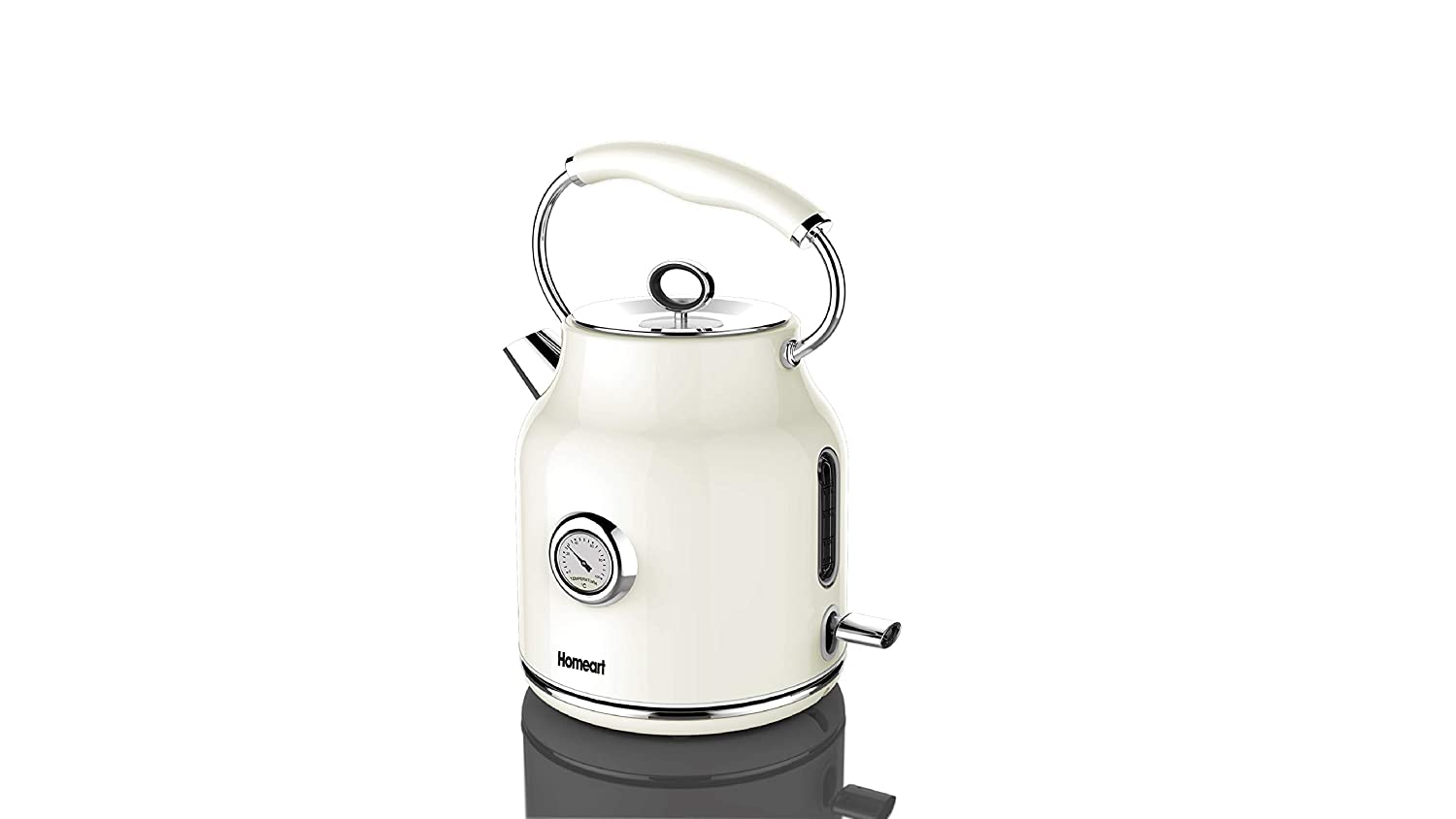 Electric Kettle Stainless Steel Stylish | 1.7 Liter | Homeart Temperature Gauge Kettle (Cream)