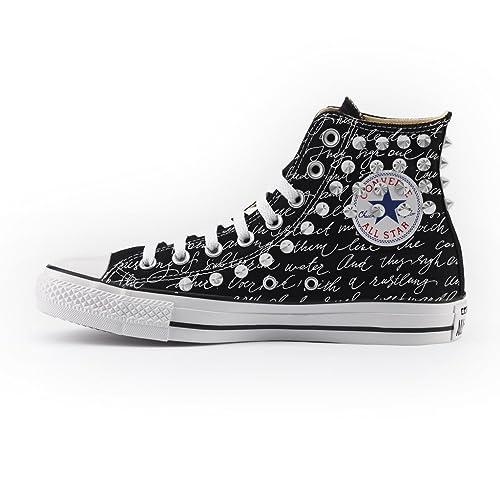 72b01b479b0a5 Converse Personalizzate con BORCHIE SILVER All Star Alta NERA - scarpe  artigianali - stampa LETTERA  Amazon.it  Scarpe e borse