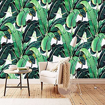 300cmX250cm Custom Wall Mural Wallpaper European Style Retro Hand Painted Rain Forest Plant Banana Leaf Pastoral