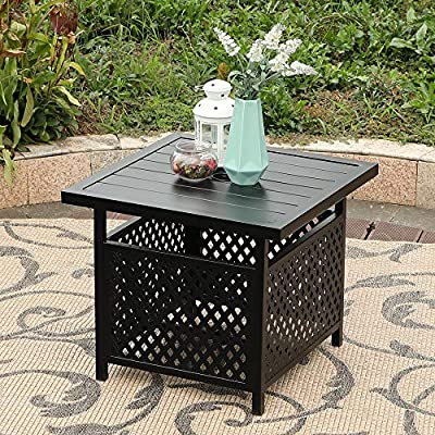 PHI VILLA Patio Furniture Set Patio Swivel Chair with Patio Side Umbrella Square Table for Outdoor Garden Yard