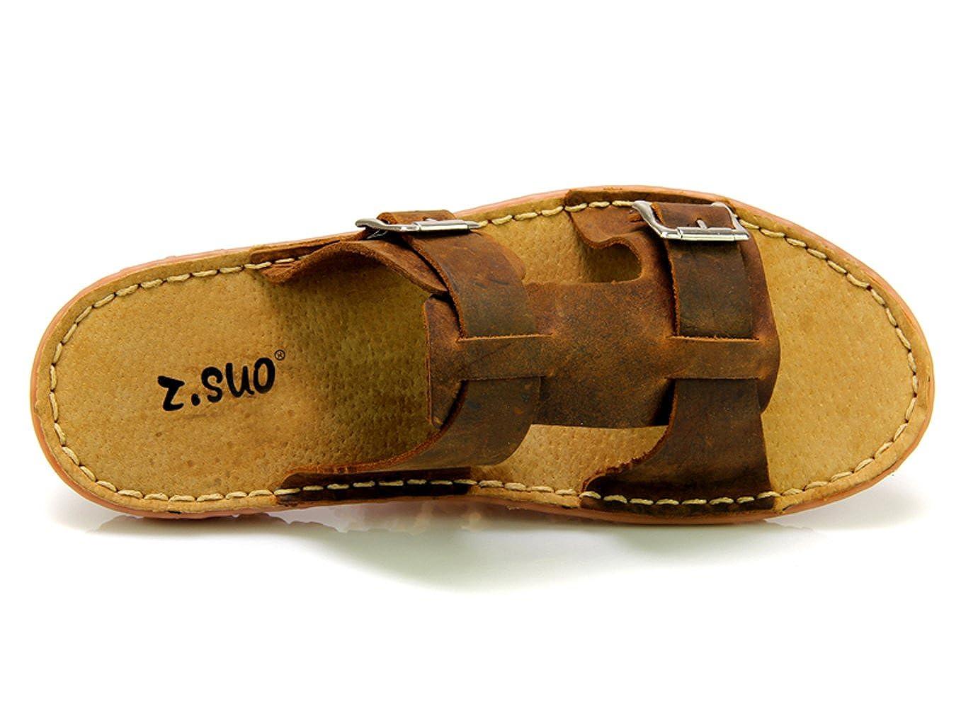 DQQ Uomo in Pelle Crazy Horse Side Slip On Sandalo, Marrone (Brown), 42.5