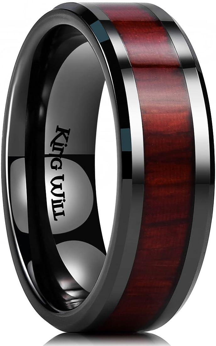 King Will Nature 7mm Black Ceramic Ring Koa Wood Inlay Wedding Band High Polished Finish Comfort Fit