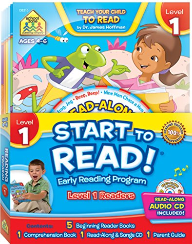 SCHOOL ZONE - Start to Read! Level 1 Early Reading Program 6-Book Set, Preschool and Kindergarten, Ages 4 to 6, Books, CDs, Workbooks and a Parent Guide