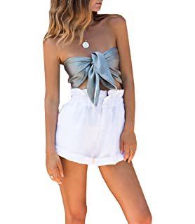 5ce5a7d495f leveltech Women Tie Closure Summer Silky Strapless Off Shoulder Bow Tie  Bandeau Crop Tube Top