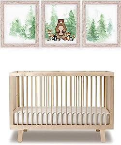 Katie Doodle Woodland Nursery Decor for Boys Girl | Super Cute Boho Nursery Wall Art Decor or Woodland Baby Shower Decorations | Includes Set of 3 Prints [Unframed]