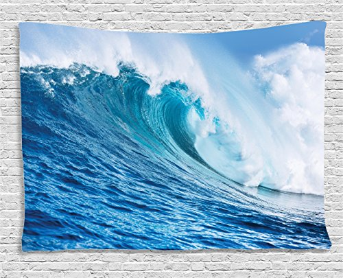 Ambesonne Ocean Decor Collection, Large Powerful Pasific Surf Sea Wave Crashes Hard, Bedroom Living Room Dorm Wall Hanging Tapestry, 80W X 60L Inch