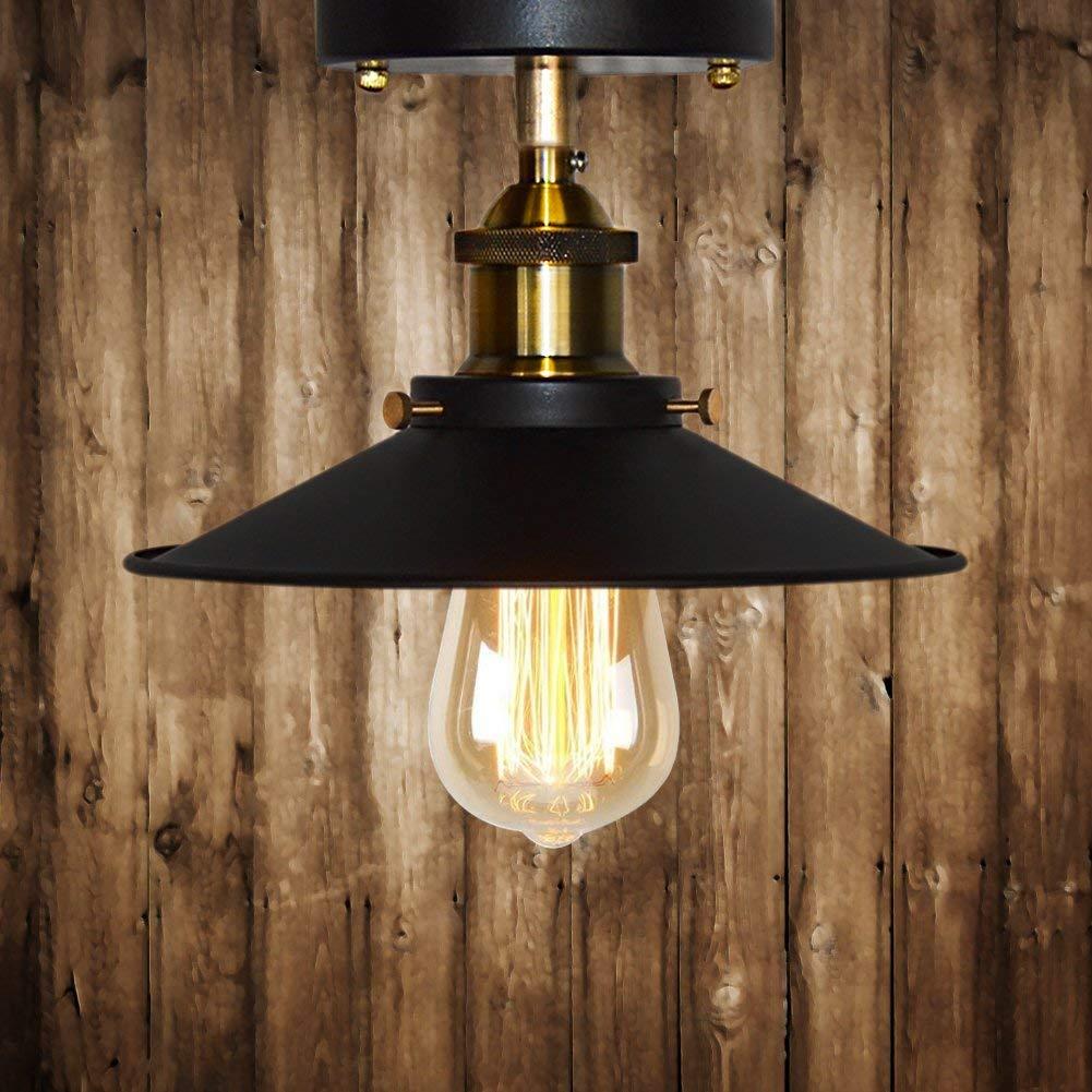 Kronleuchter, Wandleuchte, 2 Packungen Retro Industrial Metal schwarz Light Fitting für Loft Home Office Restaurant Café