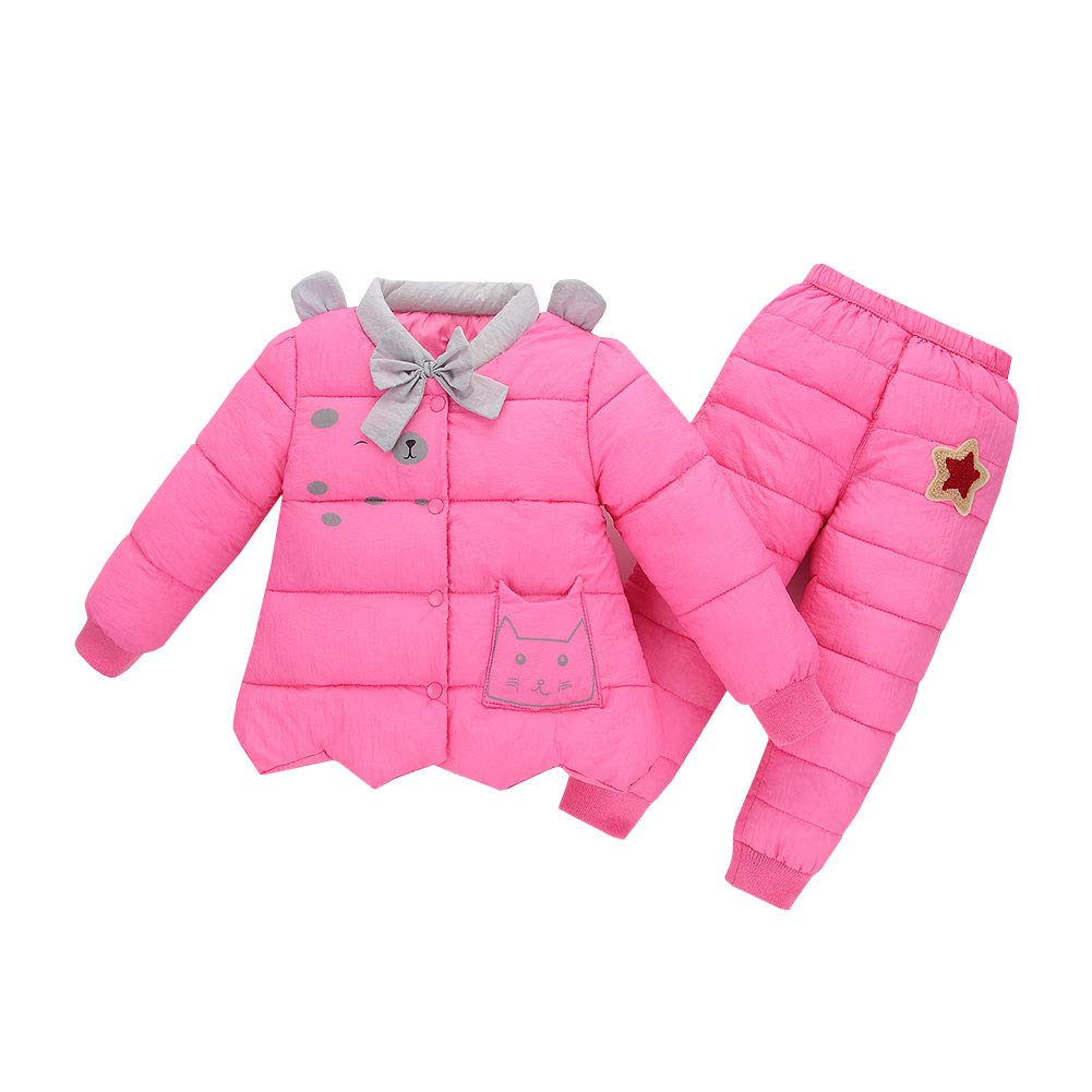Kids 2 Piece Lightweight Down Jacket Coats w/Ski Pant Set Child Winter Snowsuit