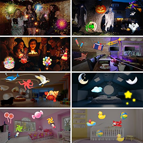 Elec3 Christmas Halloween Projector Light, 16 Slides Landscape Motion Projector Lights with Remote Control, 32ft Power Cable for Decoration Lighting on Halloween Holiday Party by Elec3 (Image #7)