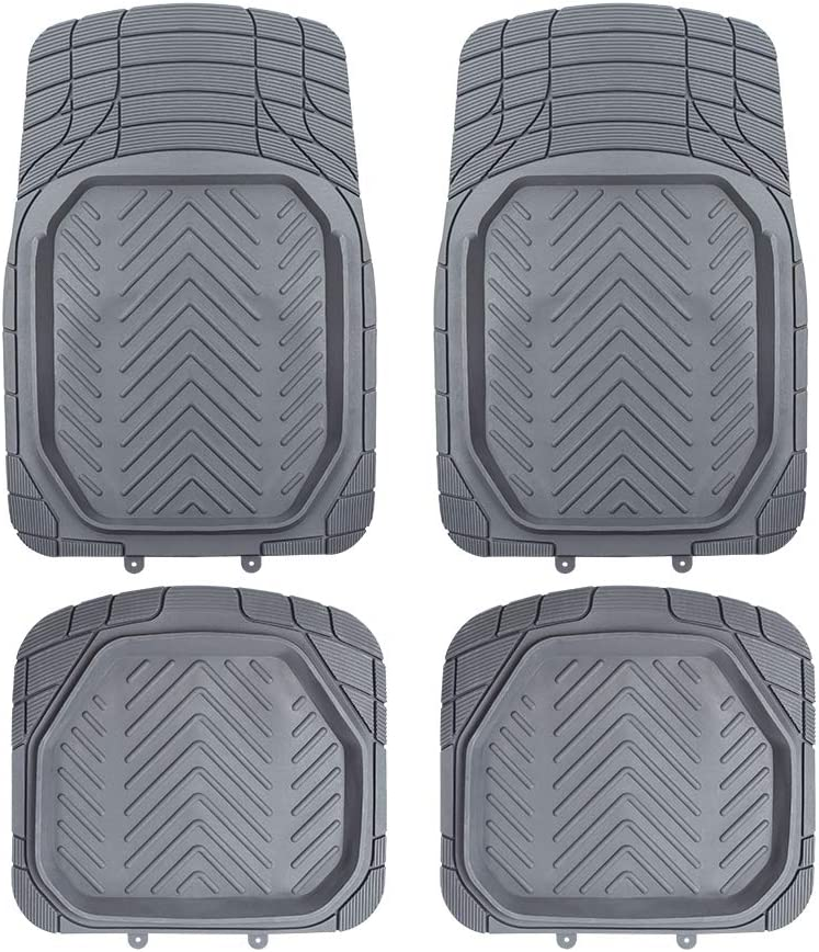 TAPAM 4pc Universal Deep Heavey Duty Rubber Odorless Car Floor Mat for All Weather