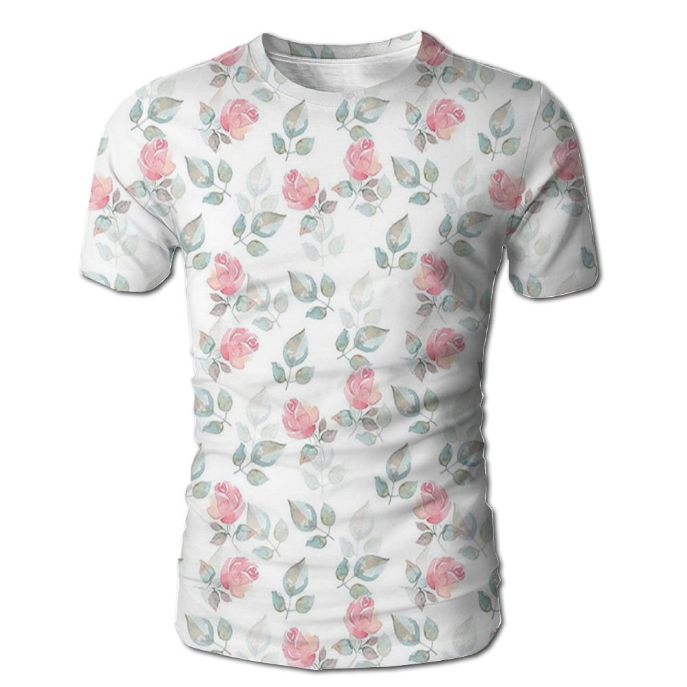Edgar John Rose Petals Blossoms Romantic Plants Wedding Love Hazy Watercolor Print Men's Short Sleeve Tshirt L