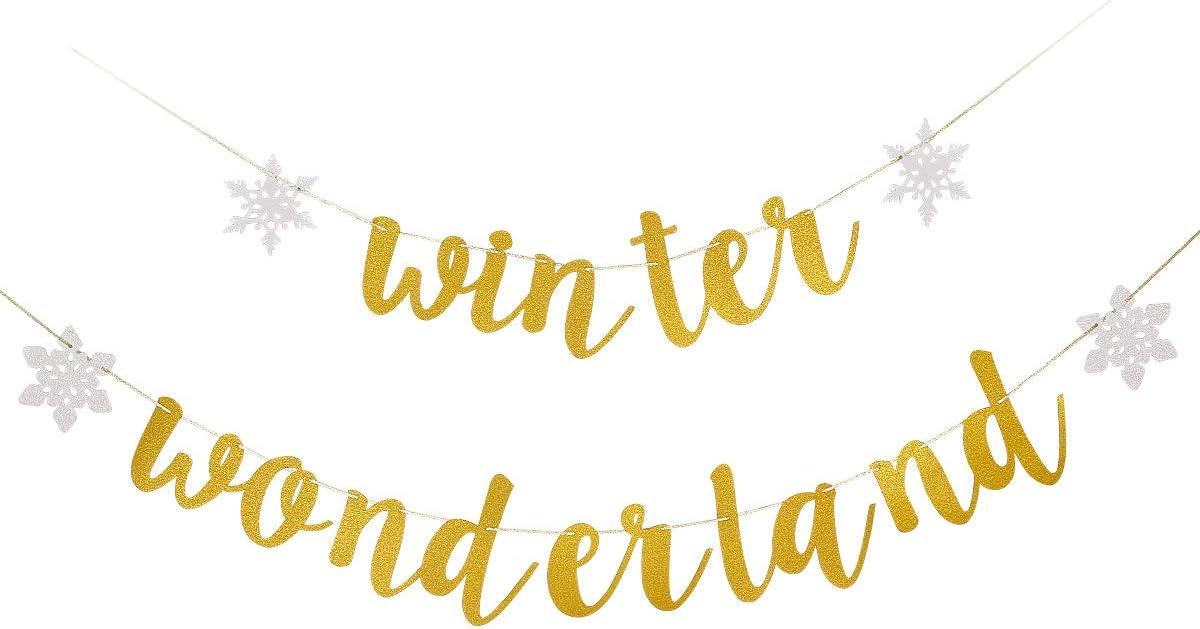 Gold Glittery Winter Wonderland Banner- Christmas Holiday Party Decorations,Winter Wonderland Decor,Snowflake Theme Party Decor