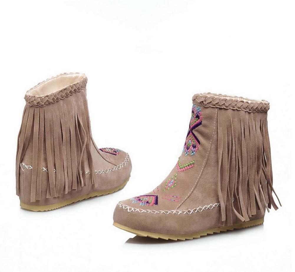 Ankel Boots Femmes Round Toe Seude Shoelace Tassel Broderie Bottes plates Bottes courtes Chaussures décontractées 2017 Auturm Winter New Eu Taille 34-43 ( Color : Beige , Size : 43(no return) )