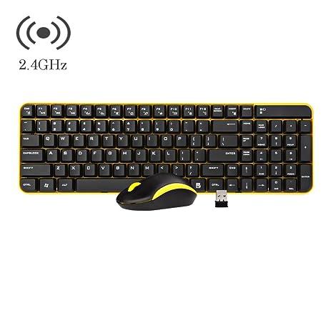 Teclado inalámbrico y ratón conjunto, Hi-azul ergonomía Teclado inalámbrico de tamaño completo multimedia