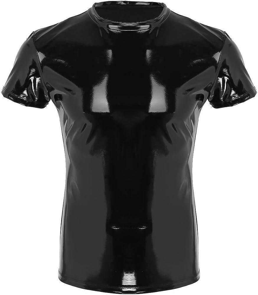 inhzoy Camiseta de Cuero Negro Hombre Sexy Ropa de Discoteca Clubwear Camisa Elástica Manga Corta Cuello Redondo T-Shirt para Hombre Negro Medium: Amazon.es: Ropa y accesorios