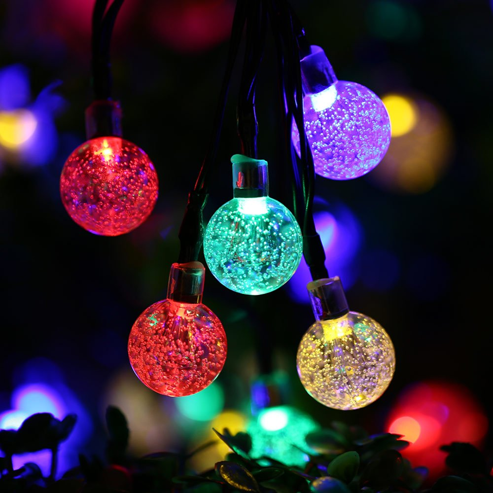 Qedertek Globe Outdoor Solar String Lights 20ft 30 LED Fairy Bubble Crystal  Ball Holiday Party Decoration Lights (Warm White) (Multi Color)      Amazon.com