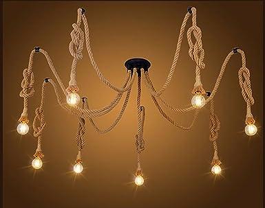Kronleuchter Glühbirne ~ Hanf seil kronleuchter antik klassische einstellbare diy decke lampe
